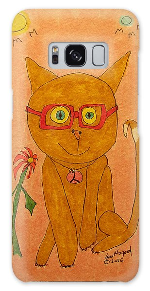 Brown Cat With Glasses Galaxy Case