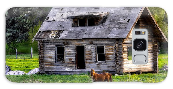 Brown Horse And Old Log Cabin Galaxy Case