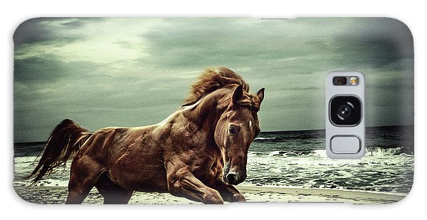 Brown Horse Galloping On The Coastline Galaxy Case