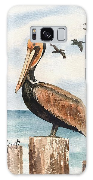 Brown Pelicans Galaxy Case by Sam Sidders