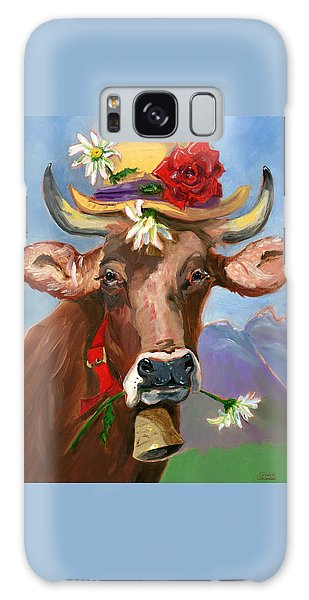 Brown Swiss In Summer Hat Galaxy Case by Susan Thomas