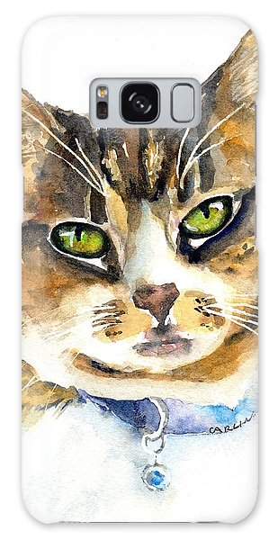Watercolor Pet Portraits Galaxy Case - Brown Tabby Cat Watercolor by Carlin Blahnik CarlinArtWatercolor