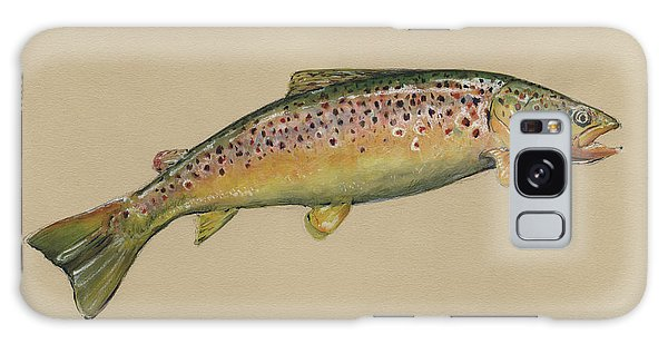 Trout Galaxy Case - Brown Trout Jumping by Juan Bosco