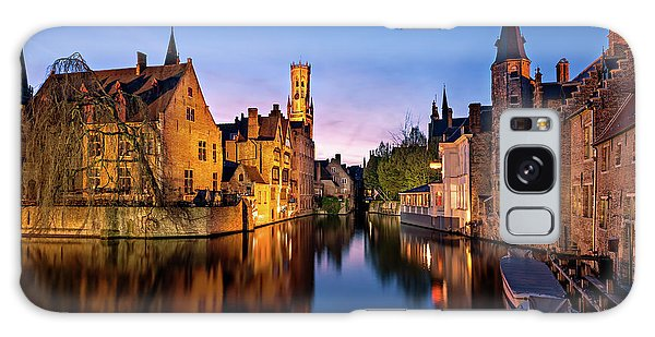 Bruges Canals At Blue Hour Galaxy Case