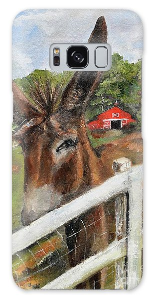 Galaxy Case featuring the painting Bubba - Steals The Show -donkey by Jan Dappen