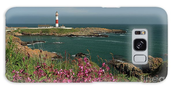 Buchan Ness Lighthouse And Spring Flowers Galaxy Case