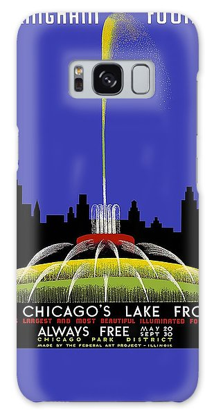 Buckingham Fountain Vintage Travel Poster Galaxy Case