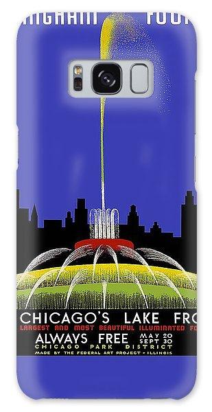 Vintage Chicago Galaxy Case - Buckingham Fountain Vintage Travel Poster by Studio Grafiikka