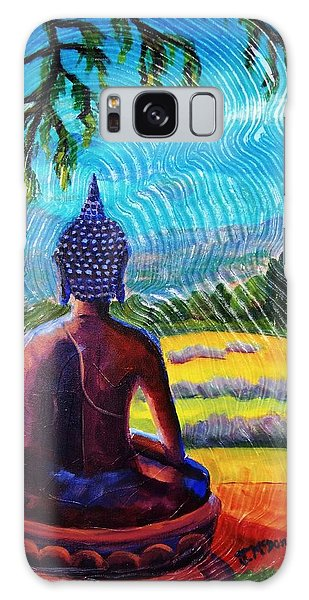 Buddha Atop The Lavender Farm Galaxy Case by Janet McDonald