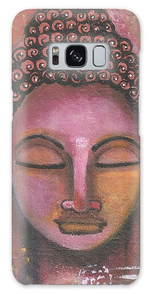 Galaxy Case featuring the mixed media Buddha In Shades Of Purple by Prerna Poojara