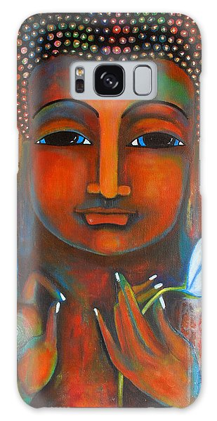Buddha With A White Lotus In Earthy Tones Galaxy Case by Prerna Poojara