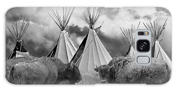 Buffalo Herd Among Teepees Of The Blackfoot Tribe Galaxy Case