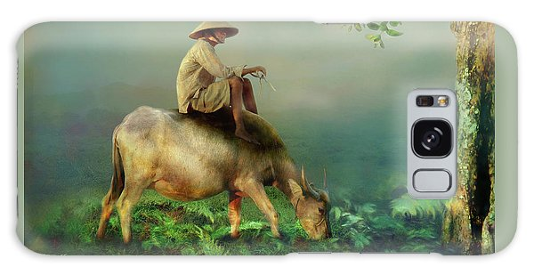 Galaxy Case featuring the photograph Buffalo In The Mist by Wallaroo Images