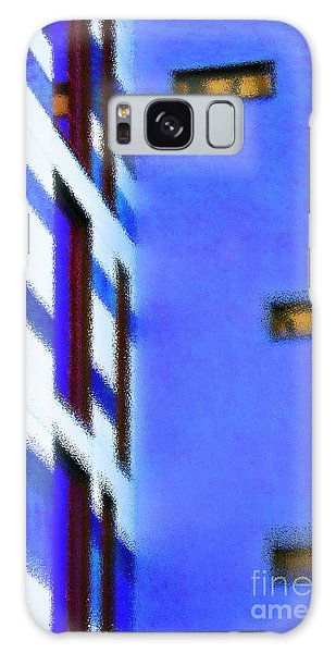 Galaxy Case featuring the digital art Building Block - Blue by Wendy Wilton