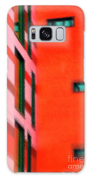 Galaxy Case featuring the digital art Building Block - Red by Wendy Wilton