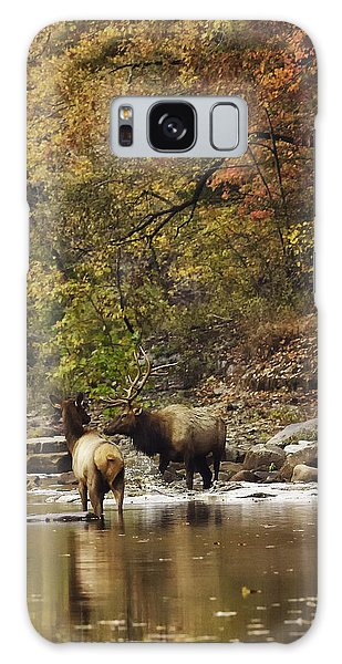 Bull And Cow Elk In Buffalo River Crossing Galaxy Case