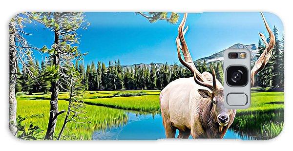 Bull Elk By The Lake Galaxy Case