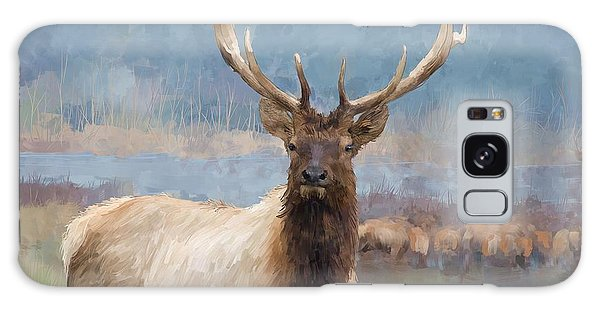 Bull Elk By The River Galaxy Case