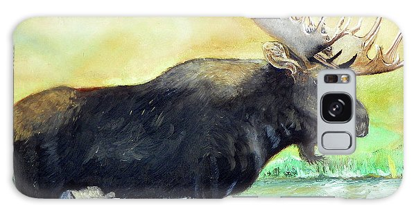 Bull Moose In Mid Stream Galaxy Case by Sherril Porter