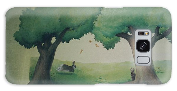 Bunnies Running Under Trees Galaxy Case