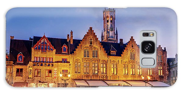 Galaxy Case featuring the photograph Burg Square Architecture At Night - Bruges by Barry O Carroll
