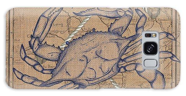 Claws Galaxy Case - Burlap Blue Crab by Debbie DeWitt