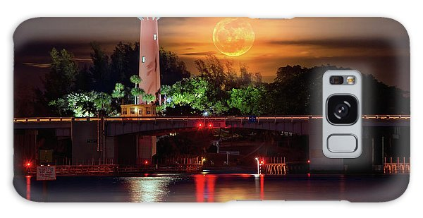 Burning Moon Rising Over Jupiter Lighthouse Galaxy Case by Justin Kelefas