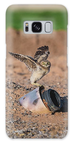 Burrowing Owlet Stretching His Wings Galaxy Case