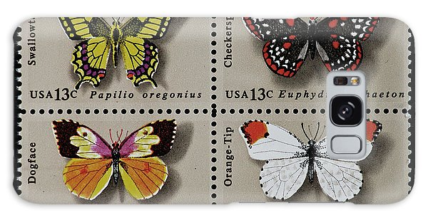 Butterflies Postage Stamp Print Galaxy Case by Andy Prendy