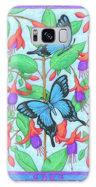 Butterfly Idyll-fuchsias Galaxy Case
