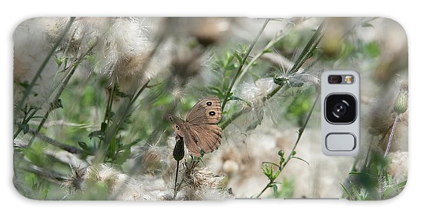 Butterfly In Puffy Seed Heads Galaxy Case