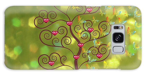 Butterfly Of Heart Tree Galaxy Case