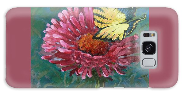 Butterfly On Zinnia  Galaxy Case