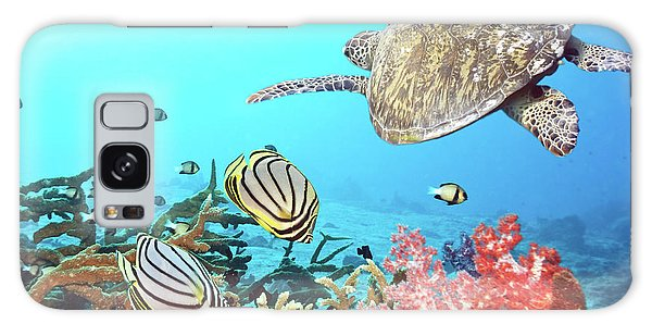 Outdoor Galaxy Case - Butterflyfishes And Turtle by MotHaiBaPhoto Prints