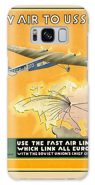 By Air To Ussr With The Soviet Union's Chief Cities - Vintage Poster Restored Galaxy Case