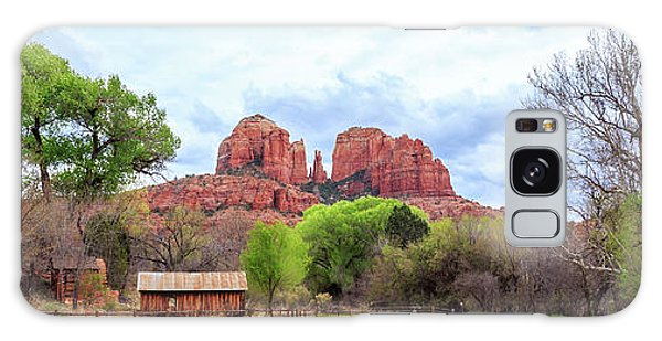 Galaxy Case featuring the photograph Cabin At Cathedral Rock Panorama by James Eddy