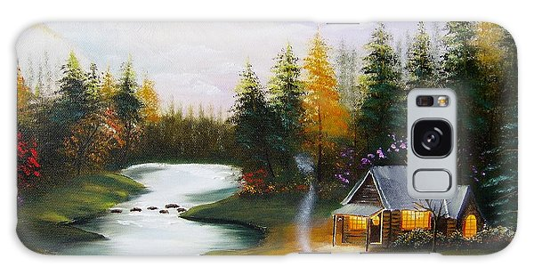 Cabin By The River Galaxy Case