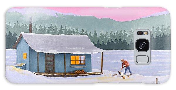 Cabin On A Frozen Lake Galaxy Case