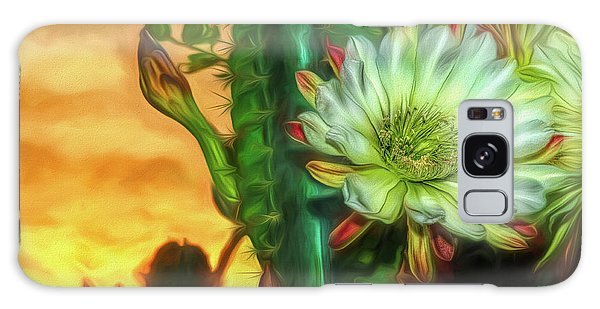 Cactus Flower At Sunrise Galaxy Case