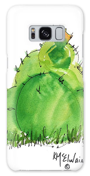 Cactus In The Yellow Flower Watercolor Painting By Kmcelwaine Galaxy Case