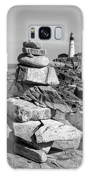 Cairn And Lighthouse  -56052-bw Galaxy Case by John Bald
