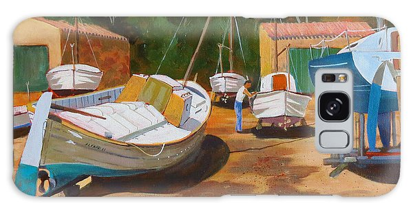 Galaxy Case featuring the painting Cala Figuera Boatyard - I by David Gilmore