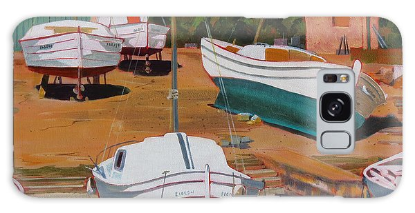 Galaxy Case featuring the painting Cala Figuera Boatyard - II by David Gilmore