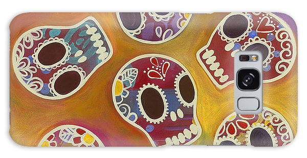 Galaxy Case featuring the painting Calaberitas Day Of The Dead Skulls by Carla Bank