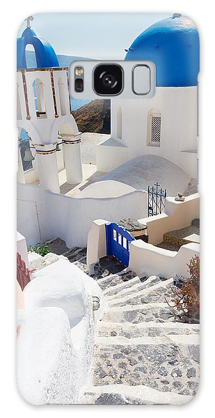 Caldera With Stairs And Church At Santorini Galaxy Case