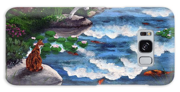 Calico Cat Galaxy Case - Calico Cat At Koi Pond by Laura Iverson