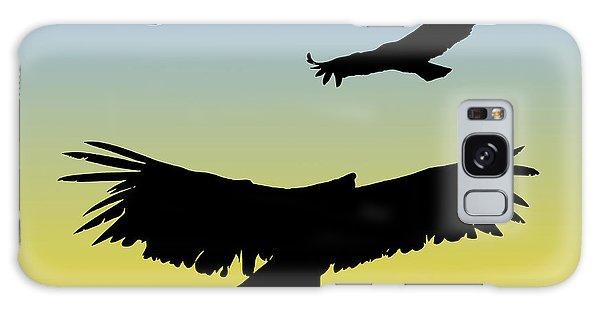 California Condors In Flight Silhouette At Sunrise Galaxy Case