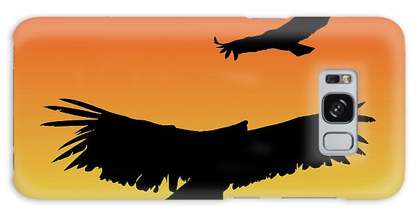 California Condors In Flight Silhouette At Sunset Galaxy Case