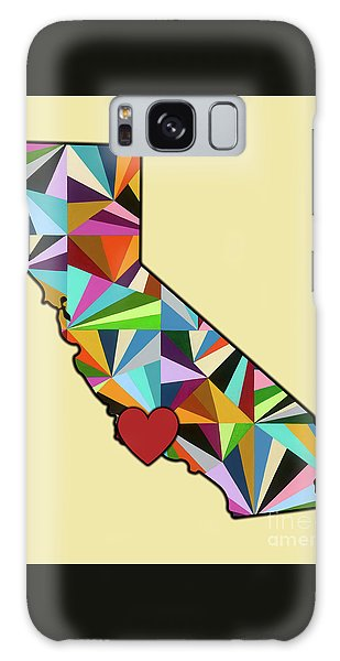 Galaxy Case featuring the mixed media California Love Geometric Map by Carla Bank