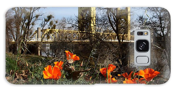 California Poppies With The Slightly Photographically Blurred Sacramento Tower Bridge In The Back Galaxy Case